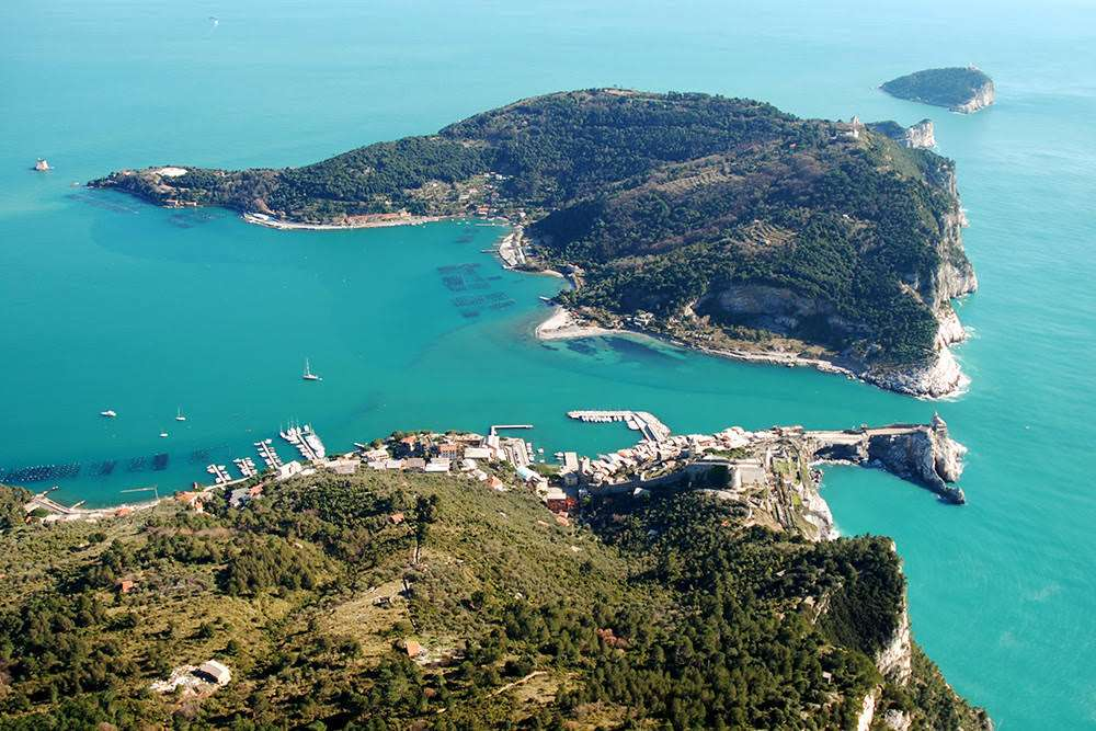 The Palmaria Island from above, in the archipelago of Cinque Terre